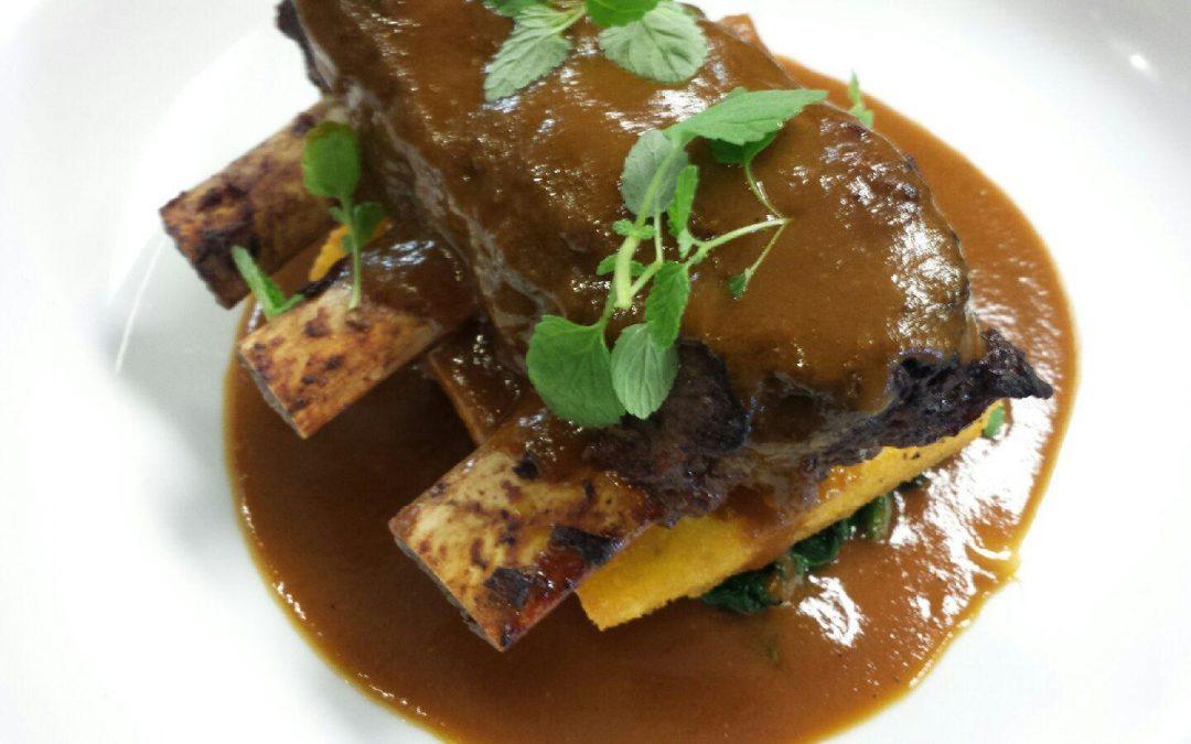 Marsala Braised Bison Shortribs, Crispy Fried Polenta, Wilted Arugula
