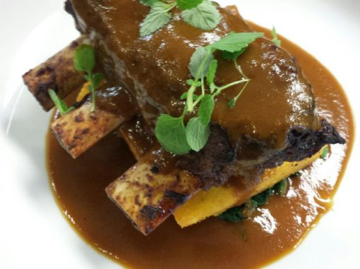 Marsala Braised Bison Shortribs, Crispy Fried Polenta, Wilted Arugula