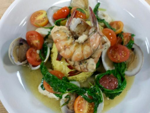 Lowcountry Stuffed Shrimp, Saffron Risoto, Wilted Spinach, Littleneck Clams
